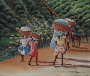 10p($50)-Women with baskets walking-20x24 Unmounted Canvas (Henry Pierre)