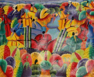 12p($50)-Colorful market-20x24 Unmounted Canvas(M el St.Fleur)