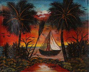 15p($15)-Boat, red sunset-8x10 Unmounted Canvas(Jhon)