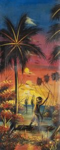26p($30)-Fishermen, palm tree-20x8 Unmounted Canvas(Job)
