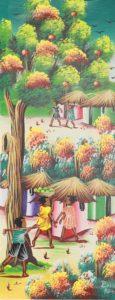27p($30)-Village, tree-20x8 Mounted Canvas(Barnes)