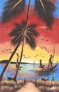 28p($20)-Fishermen, coconut tree at sunrise-12x8 Mounted Canvas(Dantus)