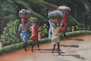 3p($50)-Women, Baskets on Heads, Walking-24x36 Unmounted Canvas (Dantus Gilles)