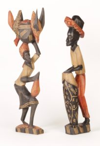 7c_8c($25e or $45pair)-Drummer and Woman with Basket on Head-18.75x5x2.5