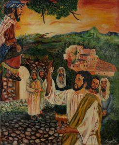 7p($50)-Jesus _ Zacchaeus-20x24 Unmounted Canvas (Ayt Donix)