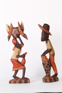 9c_10c($20e or $35pair)-Drummer and Woman with Basket on Head-18.75x5x2.5
